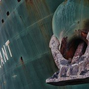 photo of anchor on container ship